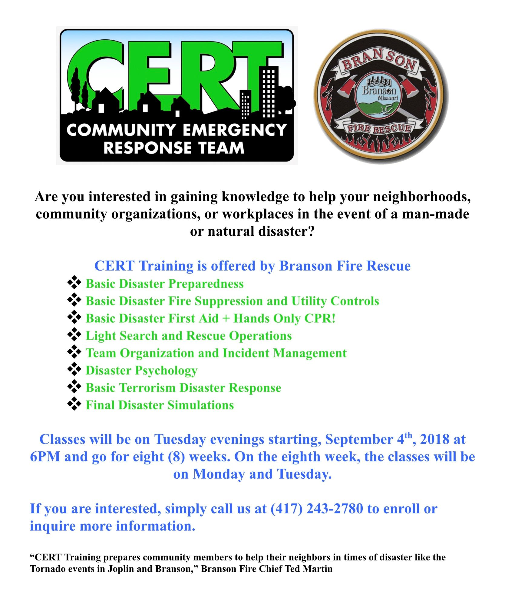 Branson mo official website branson fire rescue would like to invite area residents to a community emergency response team cert training program to learn how to be better altavistaventures Gallery
